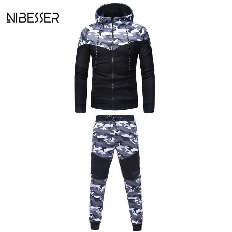 NIBESSER 2 Piece Set Camouflage Men Jacket Suit Patchwork Long Sleeve Zipper Hooded Jacket Hiphop Suit Men's Tracksuits