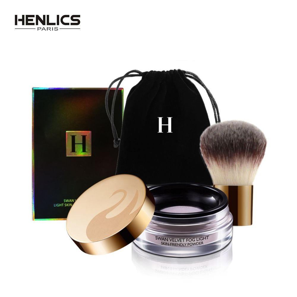 HENLICS 24 Hour Long Lasting Velvet Loose Powder Concealer with Makeup Brush 2pcs/lot Oil-control Loose Mineral Makeup Powder