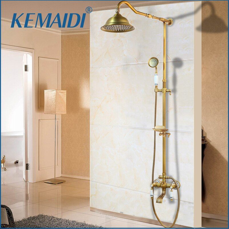 KEMAIDI Antique Brass Shower Bath Faucet Sets Wall Mounted EXposed 8