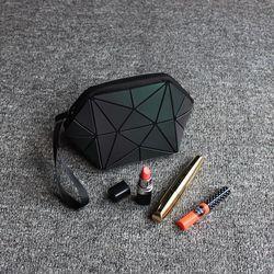 Tas kosmetik High-end fashion wanita membuat tas Bercahaya PU geometris lipat travel tas kosmetik kasus makeup kecantikan untuk wanita