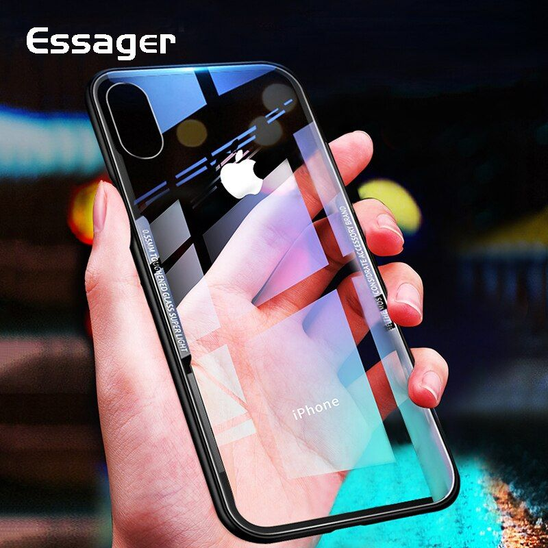 Essager Glass Phone Case for iPhone XS Max XR X S R 10 8 7 Plus Luxury Clear Back Cover For iPhone Xsmax 8plus 7plus Coque Funda