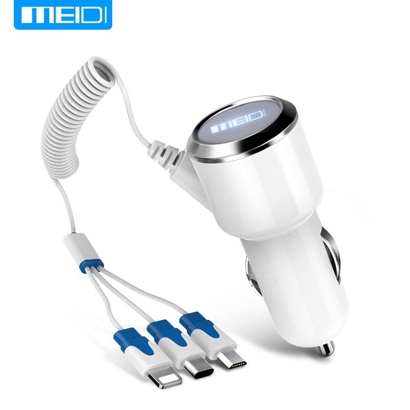 [3 USB Ports Cable] MEIDI Car Charger  Fast Mobile Phone Charger With  Cable For iPhone7 SamsungS7 Xiaomi Type C in Stock