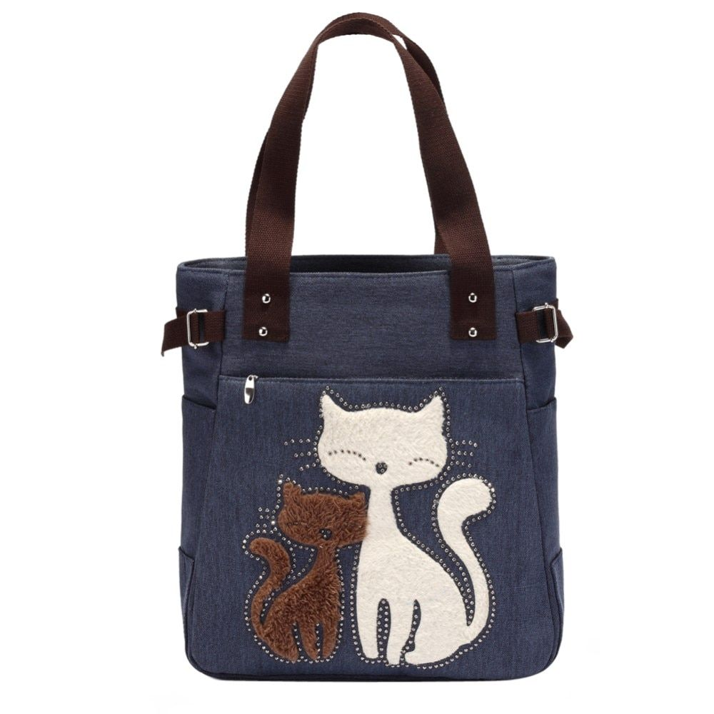 Lovely Cute Cat Canvas Handbag for Girls Ladies Large Capacity Casual Bag Women <font><b>Portable</b></font> Solid Zipper Shoulder Bag Bolsos Mujer