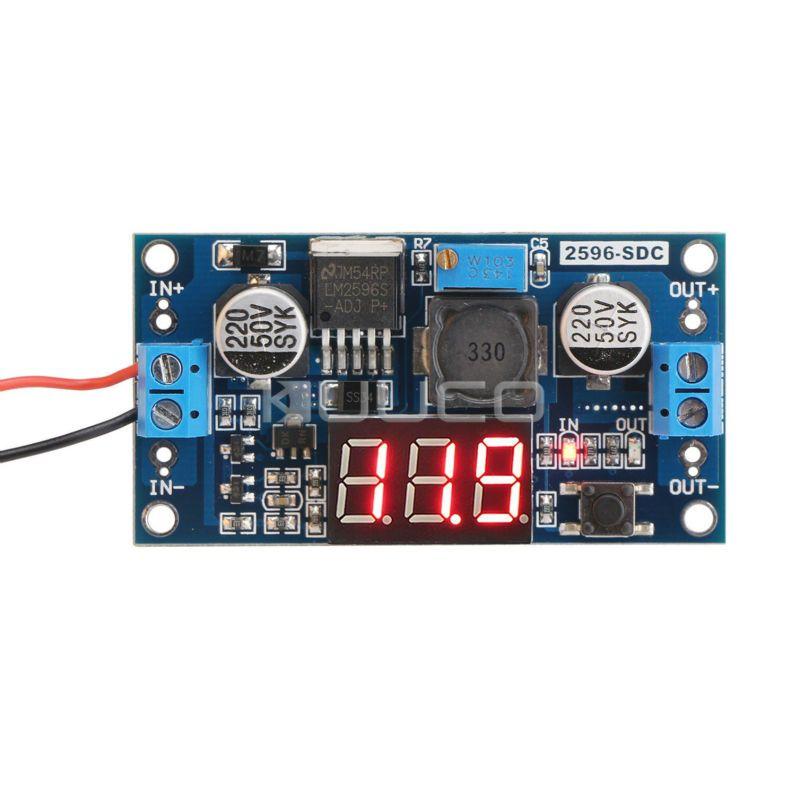 LM2596 DC 12 v Tension réglable Alimentation Régulée Convertisseur 24 v à 12 v 12 Volts à 5 v 5 volts Buck Converter + LED voltmètre