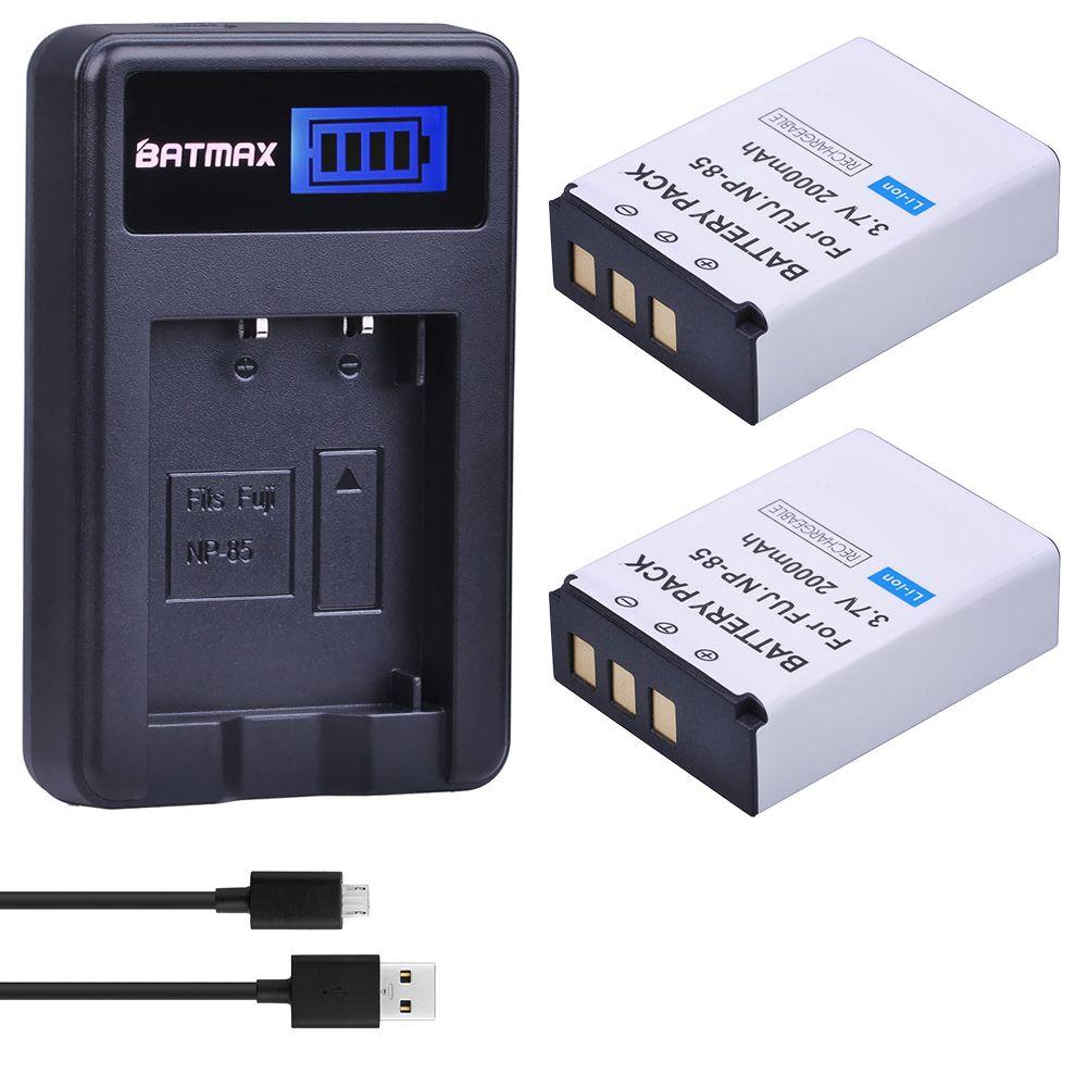 2 Stücke 3,7 V 2000 mAh NP-85 NP 85 Kamera Akku + LCD USB ladegerät für Fujifilm FinePix S1 SL240 SL260 SL280 SL300 SL305 SL1000