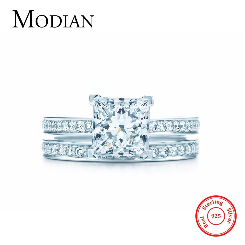 2017 New Rainbow Jewel real 925 sterling silver wedding ring engagement jewelry fasion AAAAA 2Ct zircon bridal rings for women