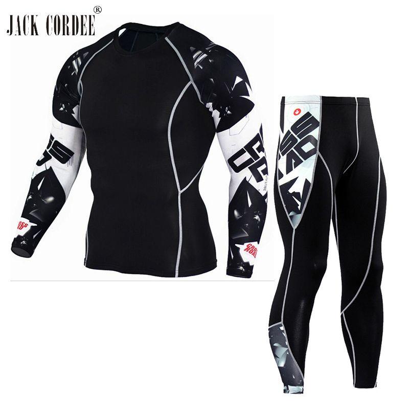 JACK CORDEE 3D Print Men Sets Compression Shirts + Leggings Base Layer Crossfit Fitness Brand MMA Long Sleeve T Shirt Tight Tops