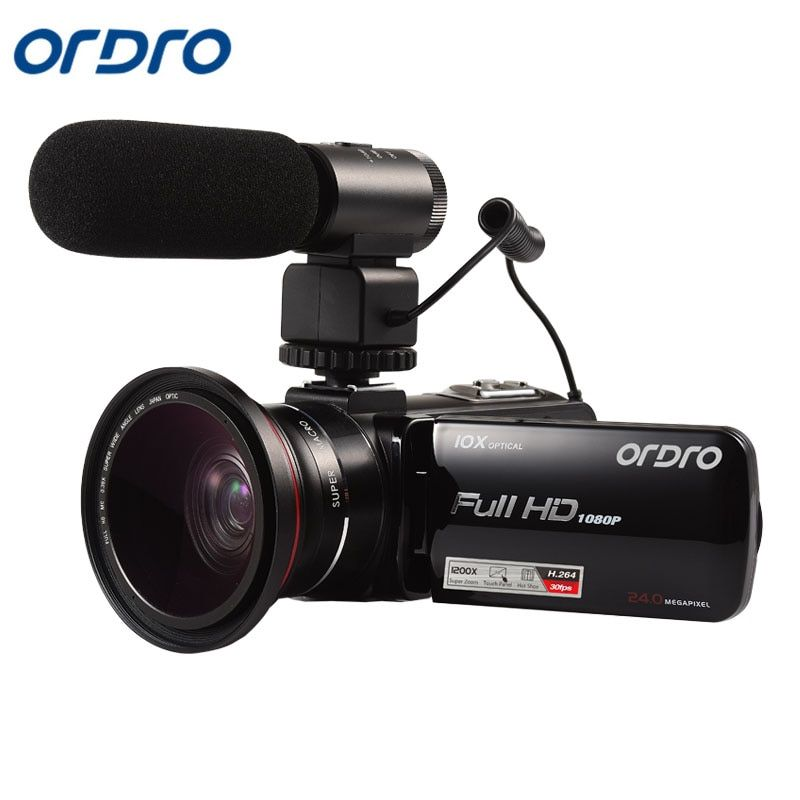 Ordro HDV-Z82 Video Camera 10X Optical Zoom Full HD 1080P Camcorder with External Microphone Wide Angle Lens