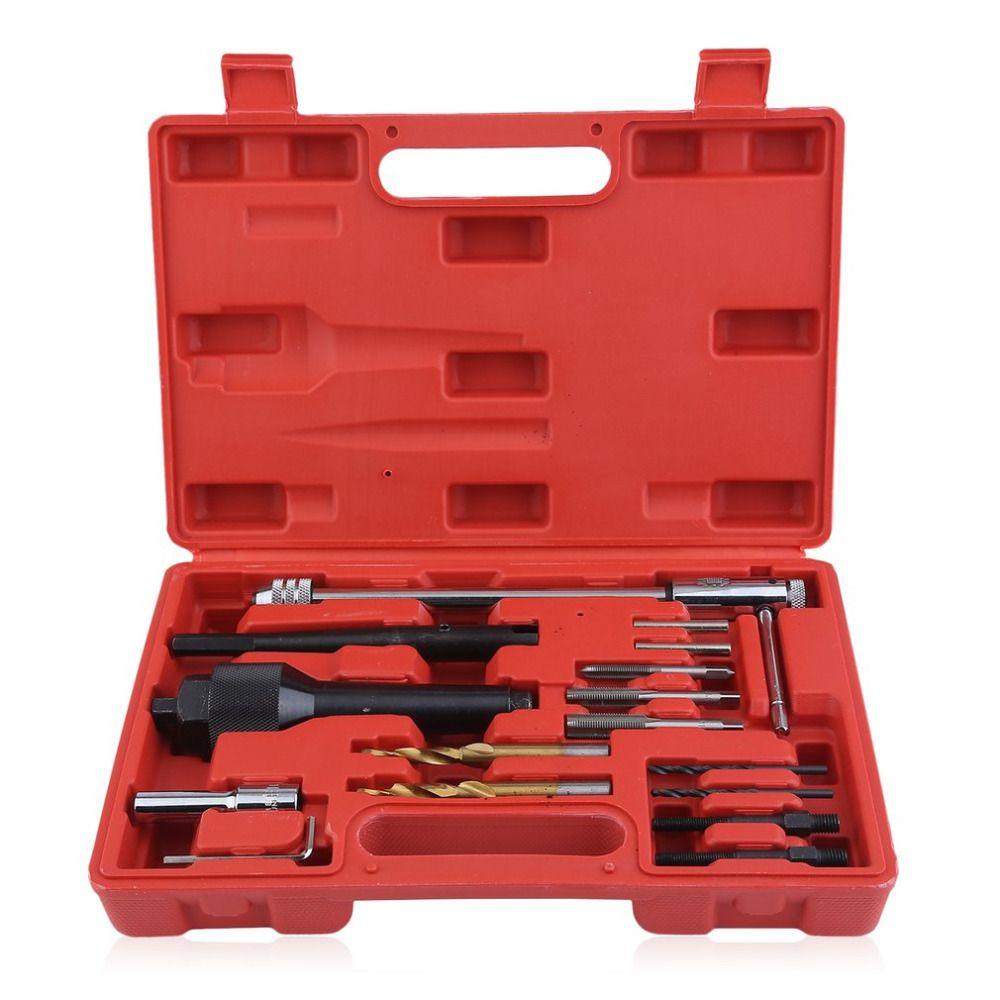 16pcs/set Glow Plug Repair Drill Universal Thread Repair Drill Durable Electro-Thermal Plug Removal Tool Spark Plug Gap Tool Kit