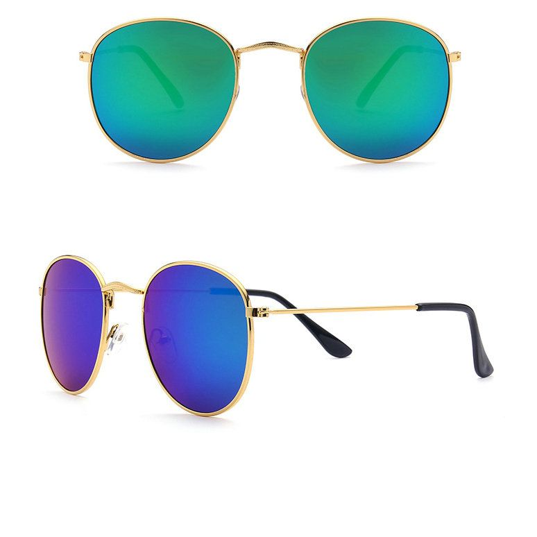 2018 Brand Glasses Vintage Glasses Color film sun glasses Metal Frame fashion Round MZ201-250 A1 Female Gold Glasses Unisex