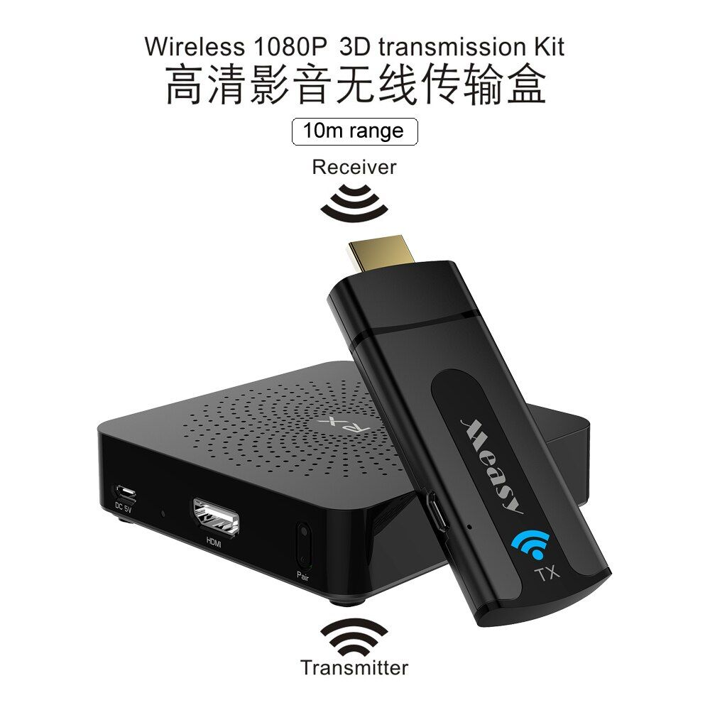 MEASY W2H Zero delay 33ft Wireless Video Audio Transmission WHDI HDMI Adapter Extender 1080P HDMI Transmitter Receiver Kit 10m