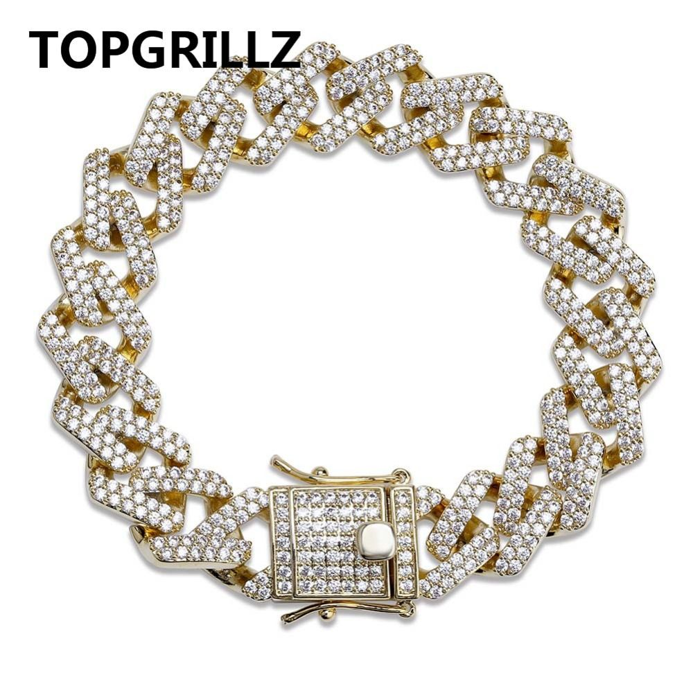 TOPGRILLZ Personality Hip Hop/Punk Men's Bracelets Iced Out Cubic Zircon Miami Curb Cuban Link Chain Bracelet Jewelry Gifts