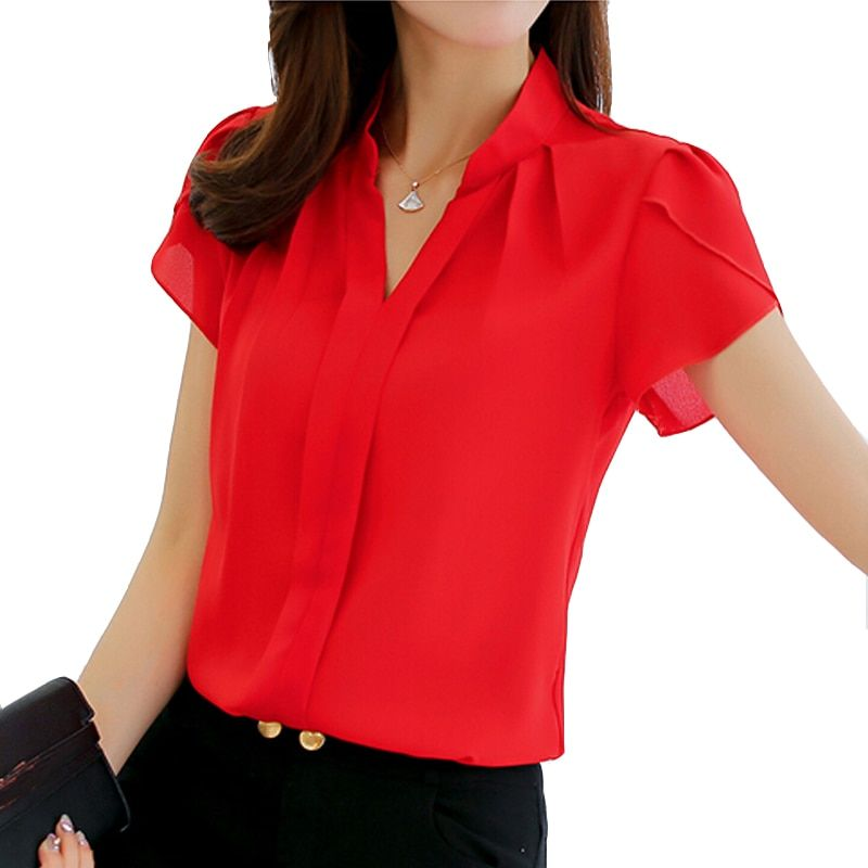2018 femmes chemise en mousseline de soie Blusas Femininas hauts à manches courtes élégant dames formelle bureau Blouse grande taille en mousseline de soie chemise vêtements