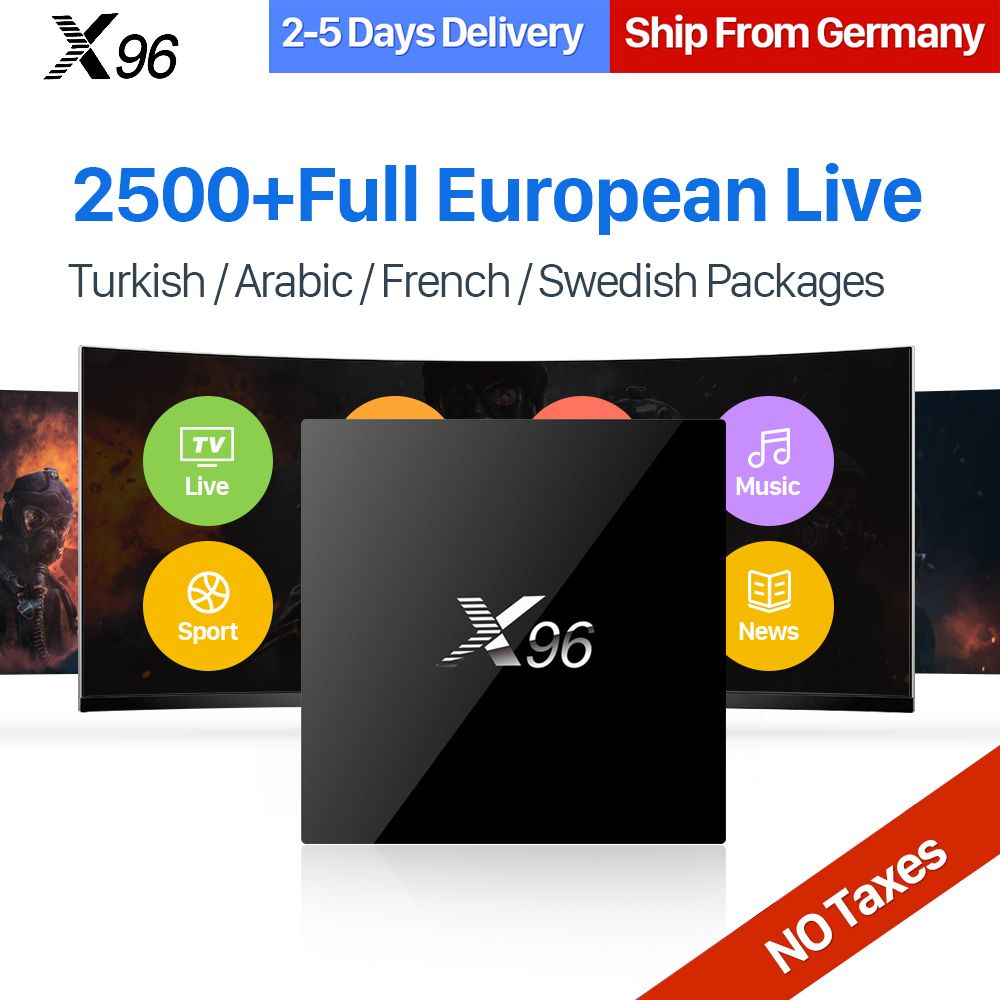 X96 IPTV Europe Box Android 6.0 S905X Quad Core 1 Year IPTV Subscription 2500+ UK Germany Italy Sweden Spain Iptv Channels