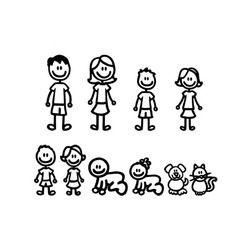 38.3*29.5 cm historieta una gran familia Etiquetas de coche moda vinilo coche decorativo Accesorios negro/plata c7-1179