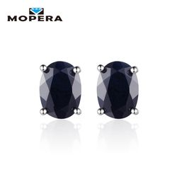 925 Sterling Silver Wedding 1.7ct Natural Black Sapphire 5*7mm Oval Stud Earrings For Women Fashion Lady Sterling-silver-jewelry