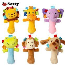 Sozzy Indah Boneka Hewan Bayi Mainan Berderit Tongkat Mainan Tangan Lonceng untuk Anak Baru Lahir Hadiah Kenyamanan 6 Gaya Gajah
