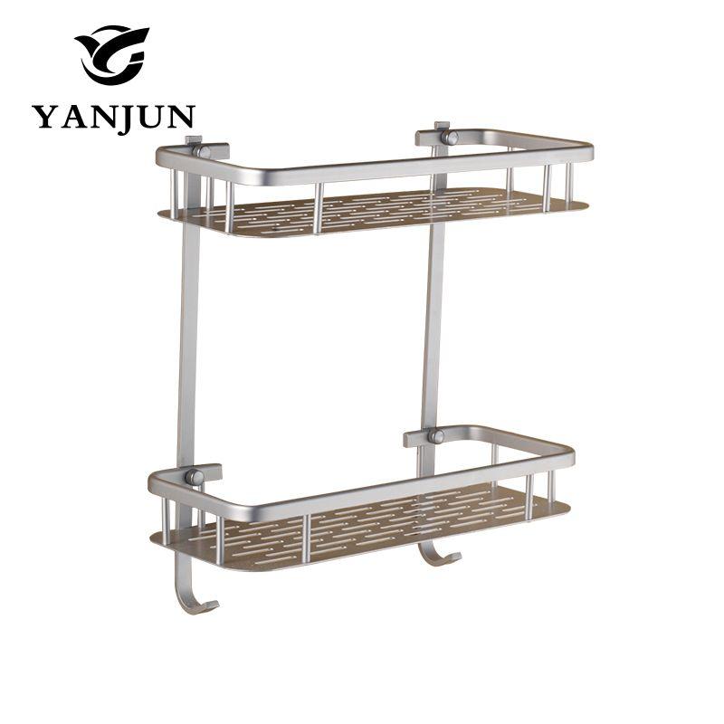 Yanjun Алюминий квадратный Полки для ванной квартет Туалет настенный кронштейн ремень крюк с крюком Аксессуары для ванной комнаты yj-8501