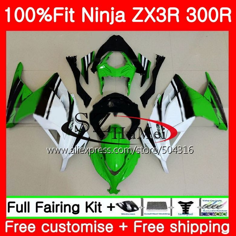 Injection For KAWASAKI NINJA ZX-3R ZX300R ZX-300R EX 300 2HS8 ZX3R 13 14 15 EX300 ZX 300R 2013 2014 2015 green white Fairings