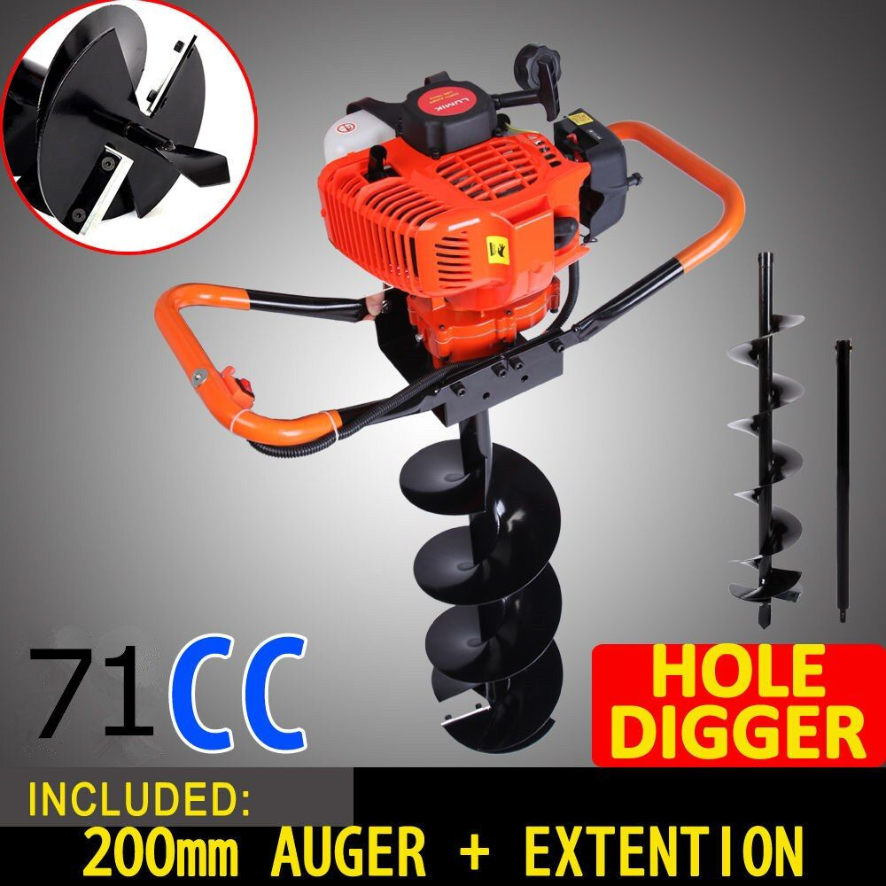NEW 71cc 2.8kw Post Hole Digger Earth Auger Petrol Drill Bits Fence Borer Professional 200mm drill and 60cm extend pole