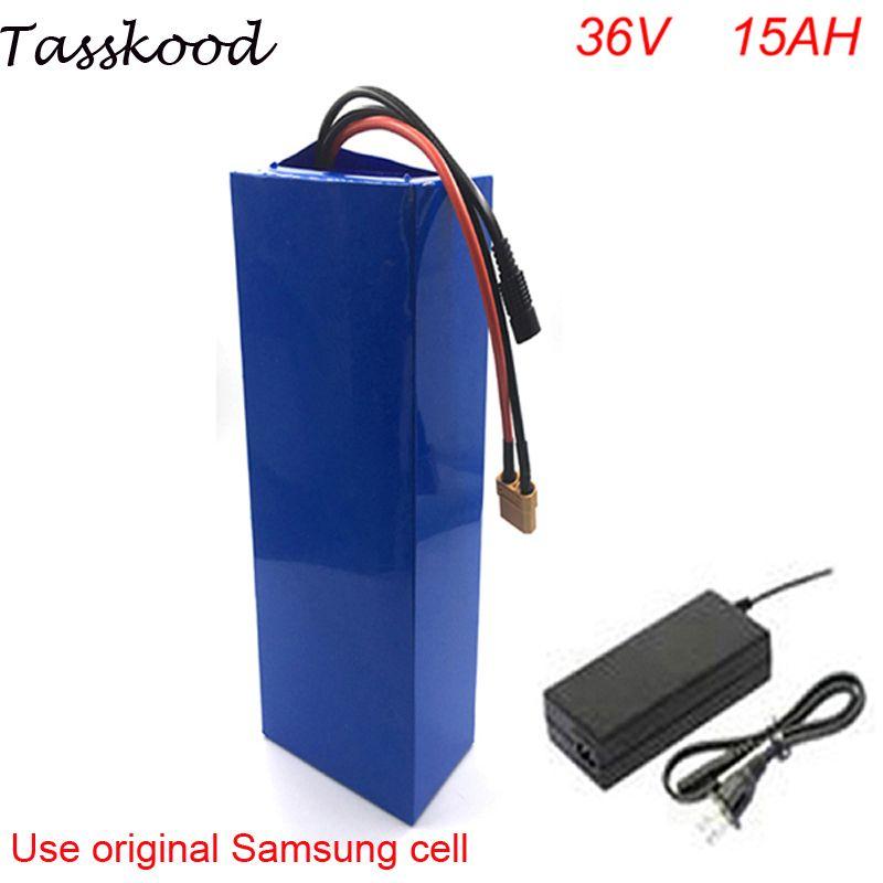 DIY fahrrad batterie 36 v li-ion elektrische fahrrad batterie 36 v 15ah lithium-batterie mit BMS und ladegerät Für Samsung zelle