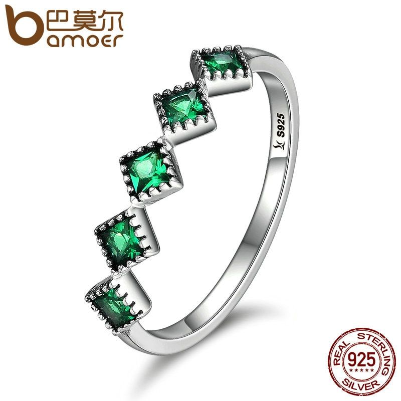 BAMOER High Quality 925 Sterling Silver Stackable Square Green CZ Finger Rings for Women Wedding Engagement Jewelry Gift SCR097