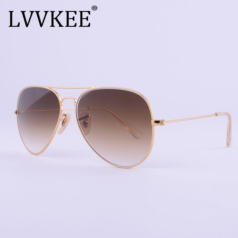 LVVKEE marque haut de marque qualité verre lentilles lunettes de soleil hommes femmes 3025 marron G15 dégradé 58mm lentille lunettes de soleil UV400 100%