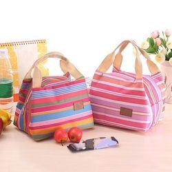 Aislados bolsa de almuerzo térmica raya bolsas de Picnic almuerzo caja de almuerzo bolsa para las mujeres señoras de las muchachas niños