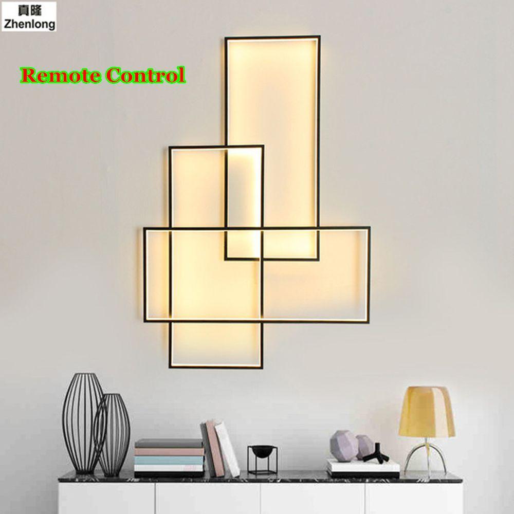 LED Wand Lampe + Remote 220V Wandlampen Designer Beleuchtung Aluminium Wohnzimmer Bett Zimmer Treppen Wand Licht Hotel Technik Beleuchtung
