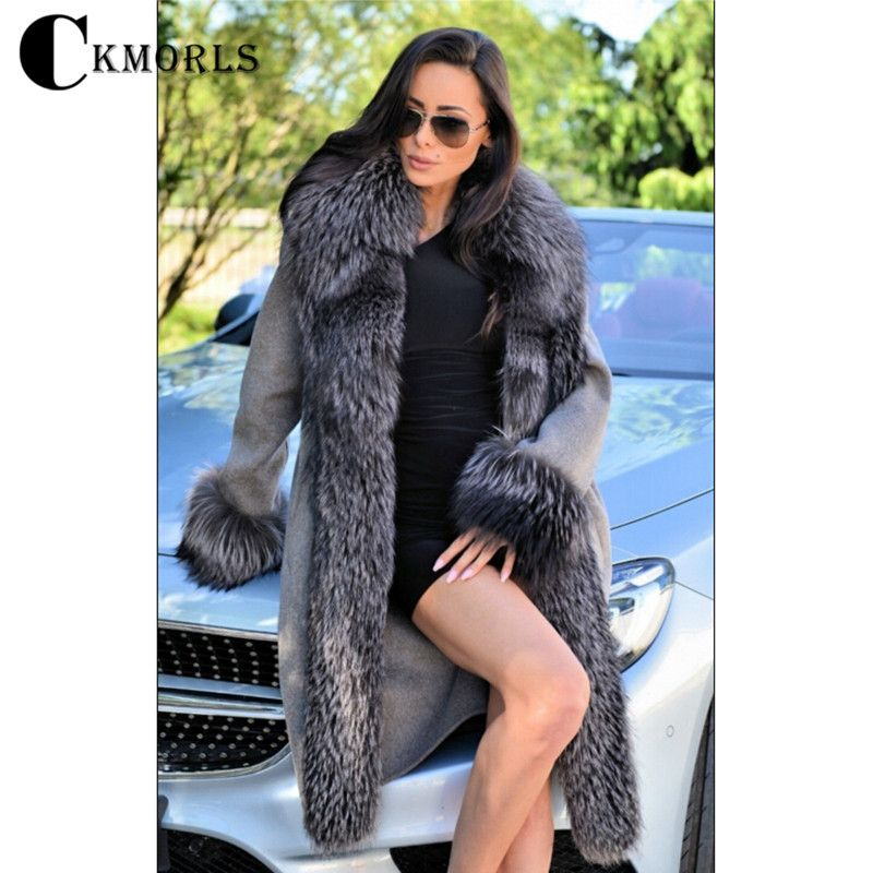 CKMORLS 2018 New Arrival Real Fur Coat Women Parka Clothes Winter Jacket With Fur Collar Fashion Natural Silver Fox Fur Parkas
