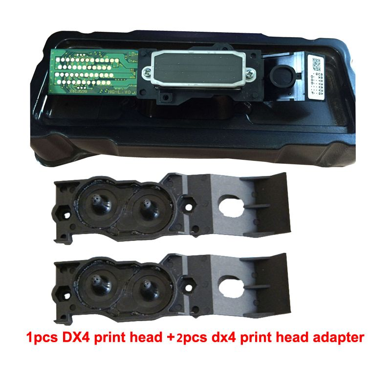 For Epson Mutoh Mimaki Roland DX4 Eco Solvent Print head+Two Adaptor free on High Quality Printhead