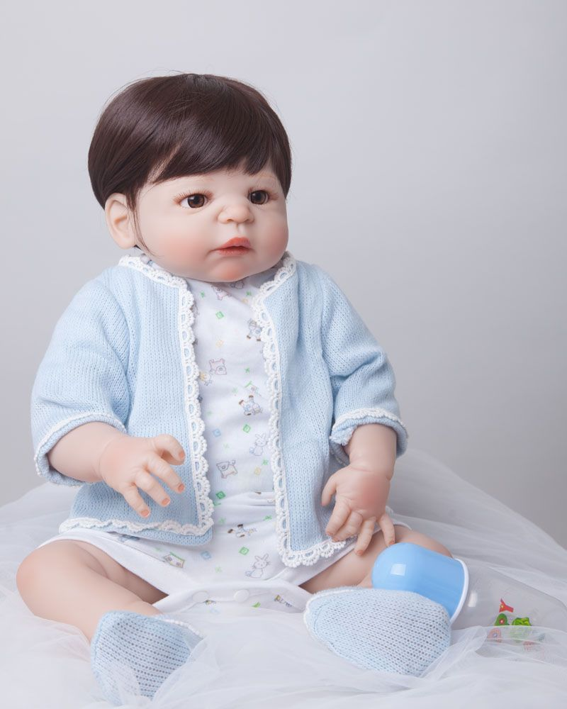55cm Full Body Silicone Reborn Baby Doll Toys Lifelike Play House Toy Newborn Boy Baby Christmas Gift Bathe Shower Toy