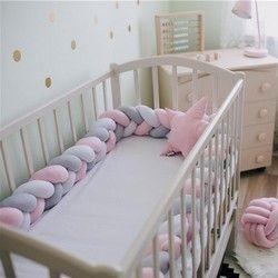 1 M 1.5 m 2 m 3 m Longitud bebé trenzado cuna Bumpers nudo almohada cojín, vivero set Sala dector cuna protector cama respaldo
