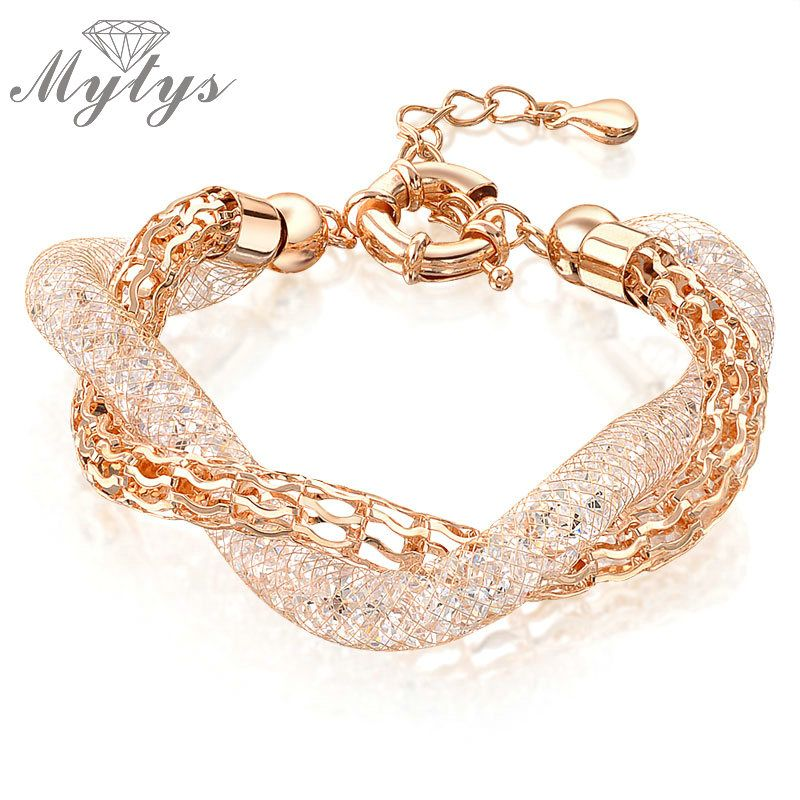 Mytys Rose Gold Mesh Tube Filled Crystal Bracelet GP Two Layers Chain Bracelet 2 Rows Twisted Design B515