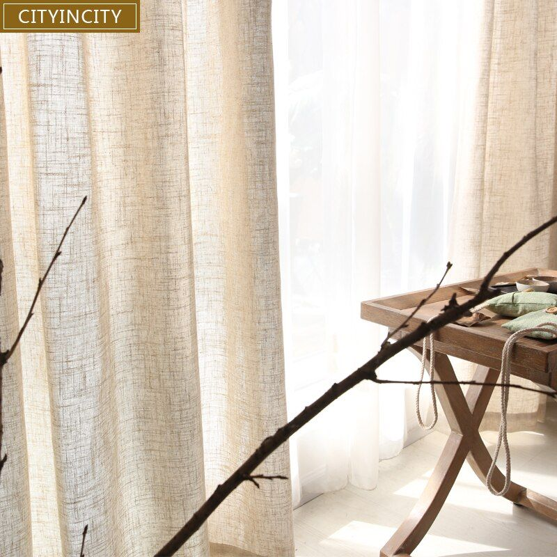 CITYINCITY Tulle Curtains for Living Room Modern solid Japan Faux Linen Window curtain For Bedroom Rideaux Customized ready made