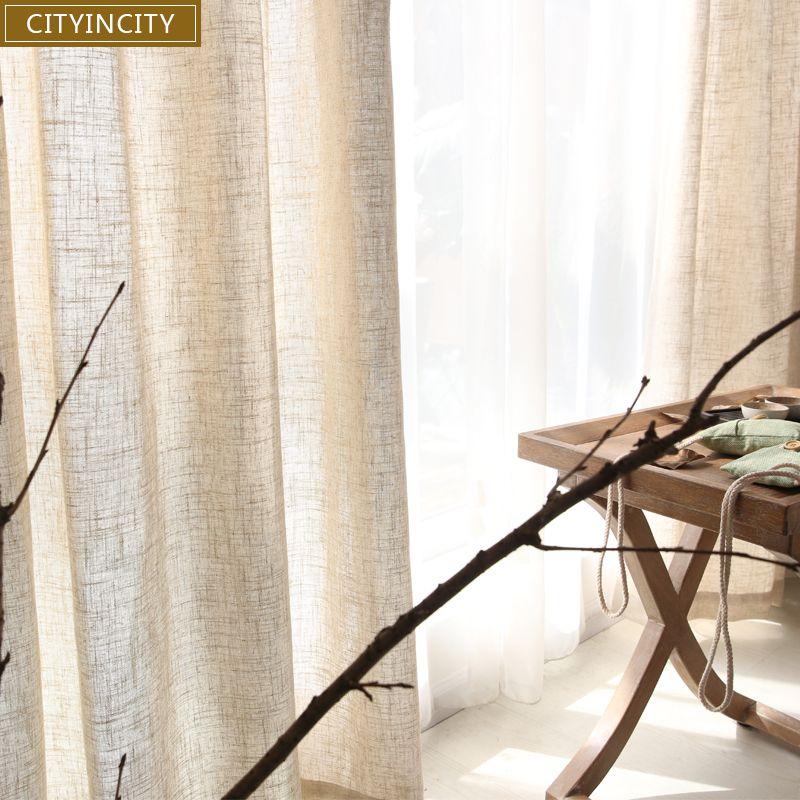 CITYINCITY Tulle Rideaux pour salon moderne solide japon Faux lin rideau de fenêtre pour chambre Rideaux sur mesure prêt à l'emploi