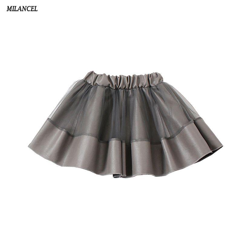 Milancel Niñas Faldas ropa de 2018 nuevos niños Niñas pu falda malla patchwork niños niña Faldas lindo ropa de los niños
