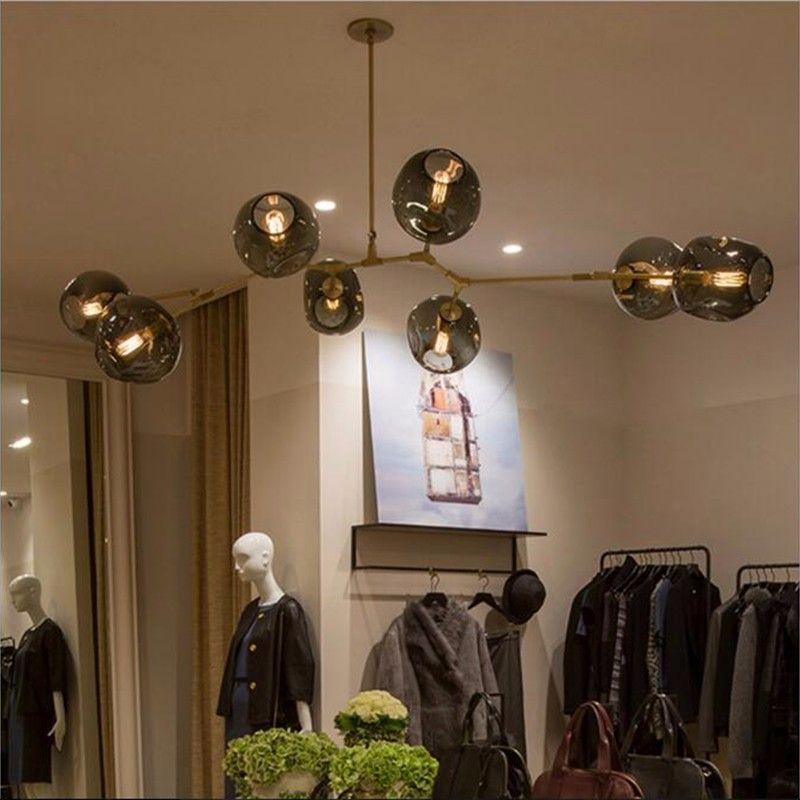 Adelman Modern Glass Balls Loft Chandelier Magic Beams Pendant Lamp Light Luxury Branch Lighting Fixture Living Room Decoration