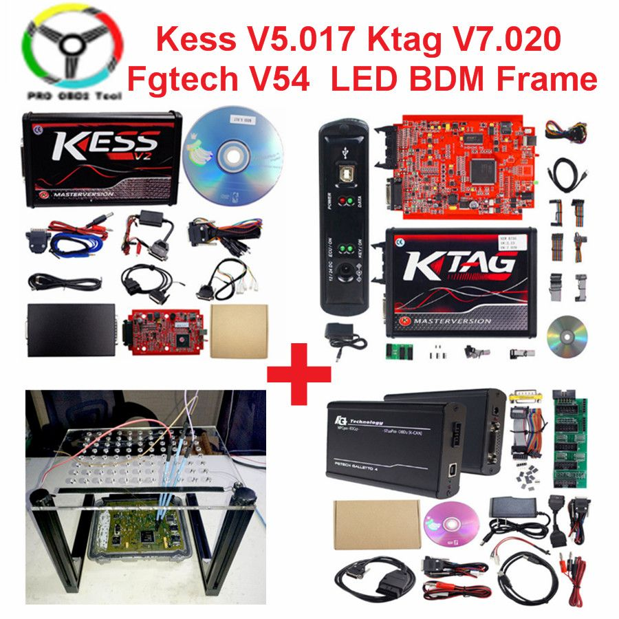 Online V2.47 EU Red Kess V5.017 OBD2 Manager Tuning Kit KTAG V7.020 4 LED Kess V2 5.017 K-TAG 7.020 ECU Programmer LED BDM Frame