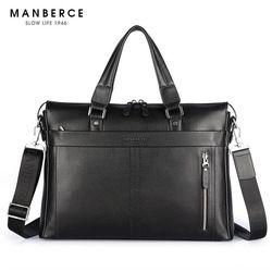 2018 New Fashion Genuine Leather Men Bag Famous Brand Shoulder Bag Messenger Bags Causal Handbag 15.6 inch Laptop Briefcase Male