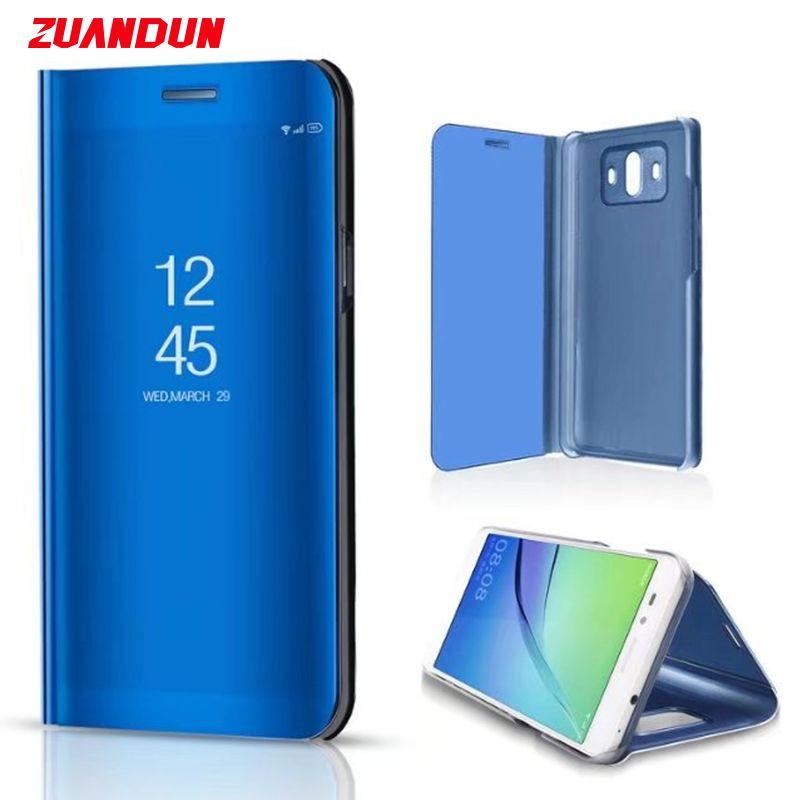 ZUANDUN Luxury Mirror Clear View Smart Flip Case For Huawei Mate 10 P10 P10 lite P8 Lite 2017 Stand PU Leather Phone Case Cover