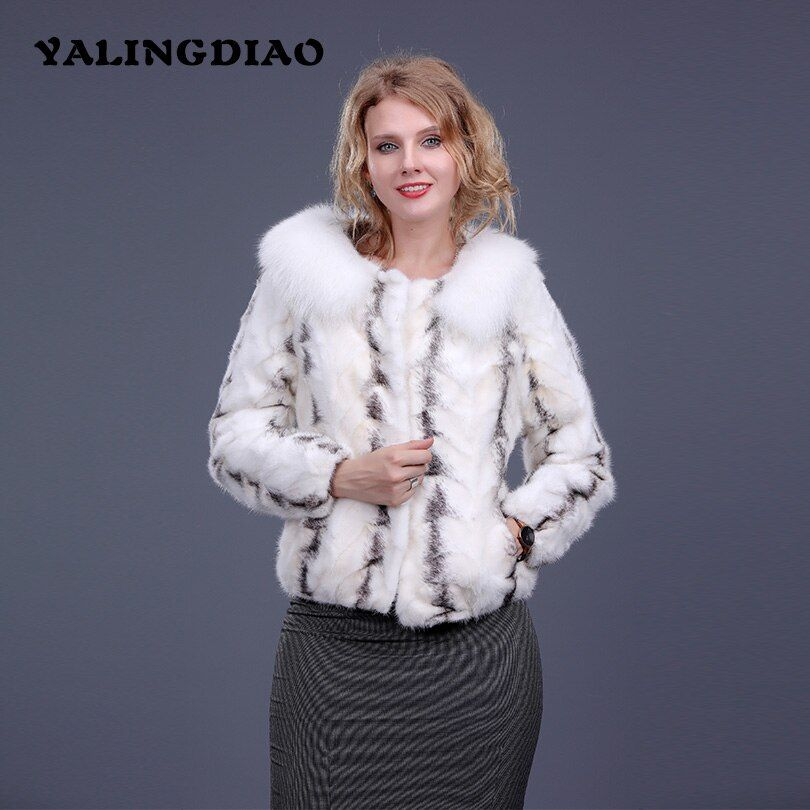 Women Winter Real Mink Fur Coat With White Collar Casual Female Long Sleeve Jacket Solid Color Striped O-Neck Real Fur Coat