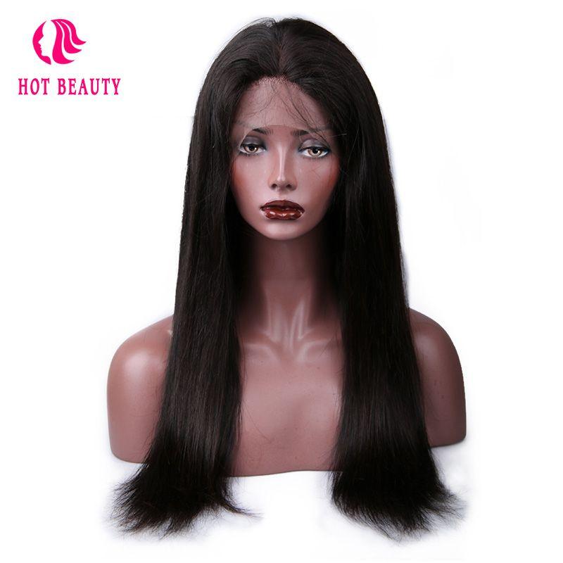 Chaude Beauté Cheveux Pré Pincées Brésilienne Droite de Cheveux Humains Perruques Avec bébé Cheveux 360 Avant de Lacet Remy Perruques de Cheveux Humains Blanchis Noeuds