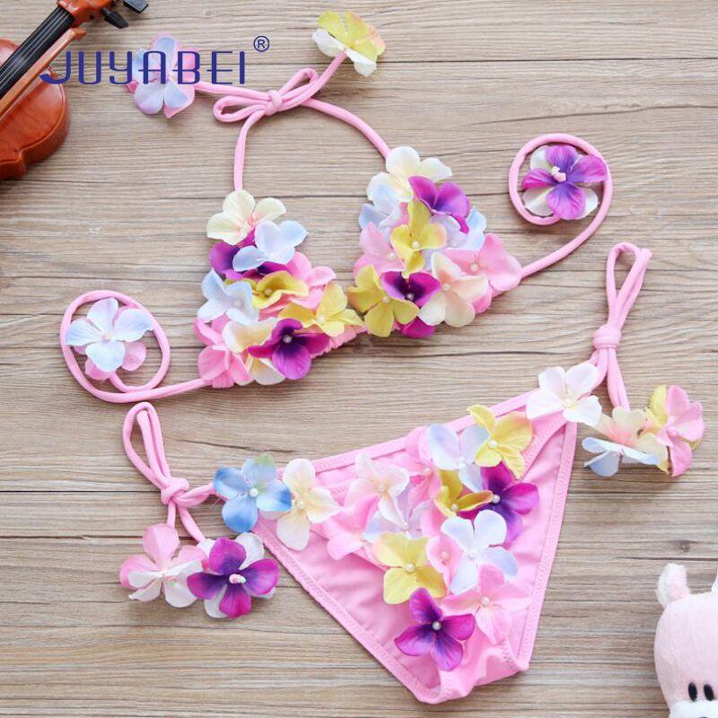 JUYABEI 2018 New 2-10T Little Girls Flower Cute Bikini Sets Baby Kids Strappy Swimwear Children Bathing Suit Swim Suit Beachwear