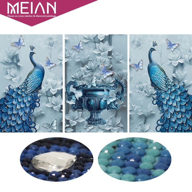 Meian,Special Shaped,Diamond Embroidery,Animal,Peacock,Full,5D,DIY,Diamond Painting,Cross Stitch,3D,Diamond Mosaic,Picture,Decor