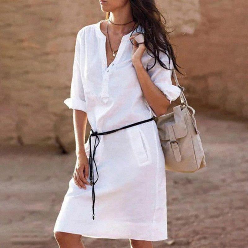 Femmes d'été lin à manches longues col en v dames décontracté lâche courte robe vacances plage décontracté solide robe avec ceinture