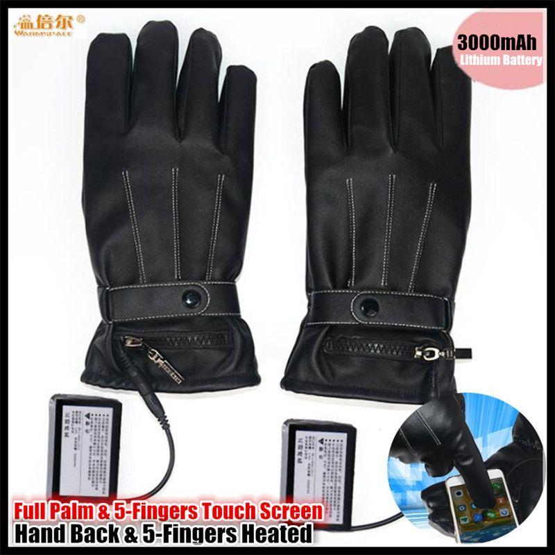3000 MAH Smart Touchscreen Elektrischen Beheizte Handschuhe, Pu-leder Sport Skifahren Handschuhe Lithium-Batterie 5-Finger & Hand Zurück Eigenerwärmung