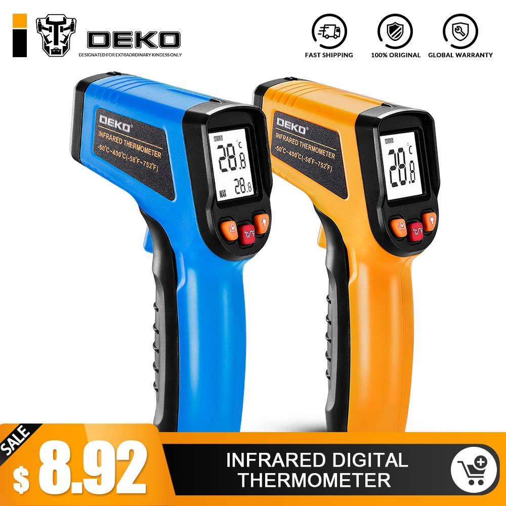 DEKO WD01 Non-Contact Laser LCD Display IR Infrared Digital C/F Selection Surface Temperature Thermometer Pyrometer Imager