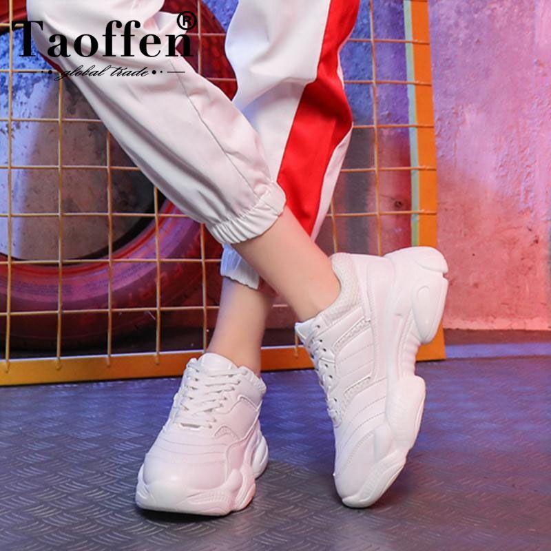 Taoffen femmes chaussures plates mode blanc vulcanisé chaussures femmes à lacets bout rond souffle Air maille chaussures de course taille 35-39