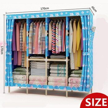 Four Rows OF Increased Wood Wardrobe Oxford Cloth Fold Portable Storage Cabinet  Size:L170XH170X45cm